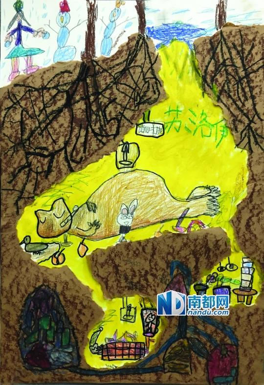 苏洛伊(6岁)洛伊的地下大家庭有个宽敞的大房间,大熊睡得正香;还有两个小房间,里面住着小熊,小鸭和小兔可没睡,在到处玩儿呢。  蒙诗其(7岁)诗其用精致的水彩技法表现地下情境,而地面用的是大笔触的丙稀,冷色暖色让地上地下形成鲜明对比。  刘卓潼(7岁)卓潼表现一只蜷缩的狐狸,在漫漫冬夜,有种孤独感。  蔡欣遥(7岁)欣遥的地宫有漂亮的树叶铺成的床,有迷宫样的玩具房,暖暖的桔色的灯光,别提多温暖了。外面的小雪人是不是也想进来睡啊?  徐诗茵(7岁)在雪地上建造的彩色城堡外,有一条树根下的暗道通向动物们的冬
