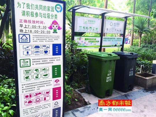 万科小区里设置的分类垃圾桶