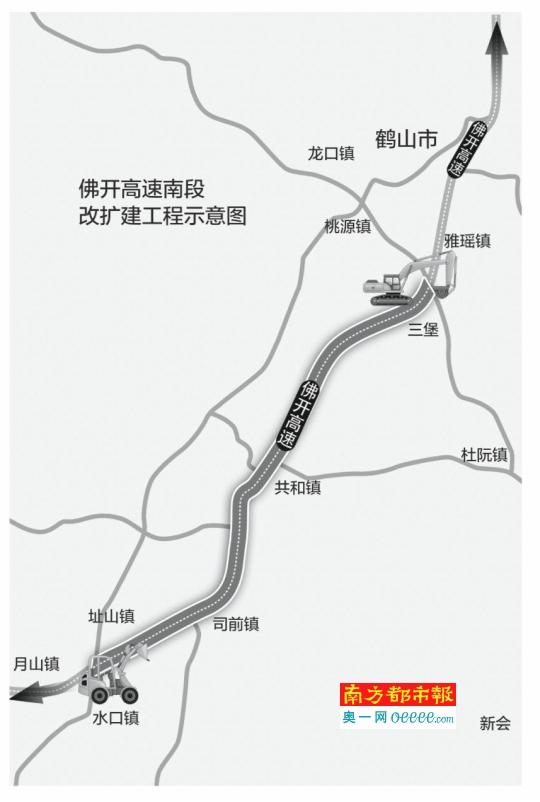 佛开高速公路起于佛山市南海区的谢边,与广佛高速公路相连,终于鹤山市